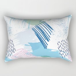Mid Century Modern Abstract Blue and Blush Pattern V Rectangular Pillow