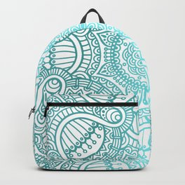 Turquoise Ethnic Pattern With Mandalas Backpack
