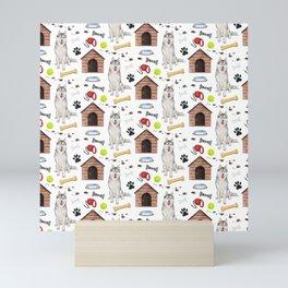 Siberian Husky Dog Half Drop Repeat Pattern Mini Art Print