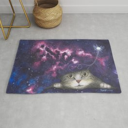 Rip in the Fabric of Space - Cat peeking into space Rug