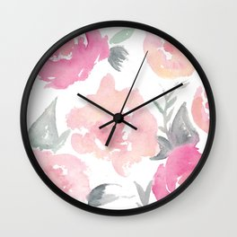 Muted Floral Watercolor Design  Wall Clock
