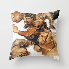 Joseph Christian Leyendecker - Rugby Player, Tackle - Digital Remastered Edition Throw Pillow