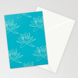 Outlined Water Lily Pattern Stationery Cards