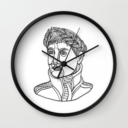 Emperor Wearing Laurel Leaf Mono Line Wall Clock
