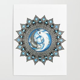 Yin and Yang Butterfly Koi Fish Mandala Poster