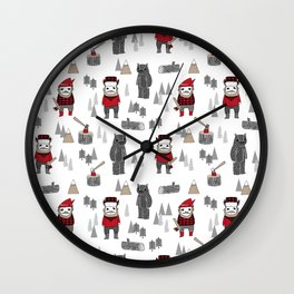 Forest lumberjack and bear nursery kids cute woodland camper gifts Wall Clock