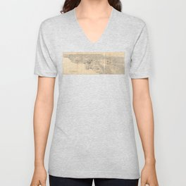 Vintage 1915 Los Angeles Area Map Unisex V-Neck