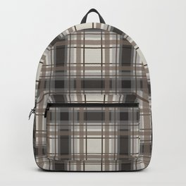 Brown Plaid with tan, cream and gray Backpack