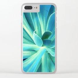 Exotic Elegant Blue Succulent Clear iPhone Case