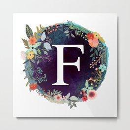 Personalized Monogram Initial Letter F Floral Wreath Artwork Metal Print