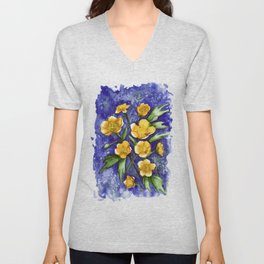 Marsh Marigolds Unisex V-Neck