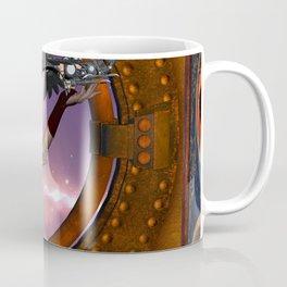 Wonderful steampunk lady with steam dragon Coffee Mug