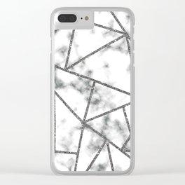 Glitter silver geometric marble Clear iPhone Case