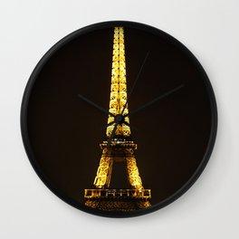 The Eiffel Tower At Night Wall Clock