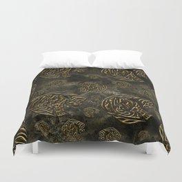 Mosaic of golden elephants Duvet Cover