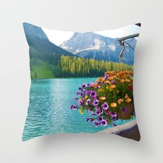 Floral basket, mountain and blue lake Throw Pillow
