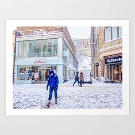 Snowy Day In Norwich, U.K Art Print