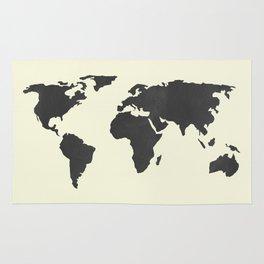 The Classic World Map - Chalkboard Black on Cream Linen Rug