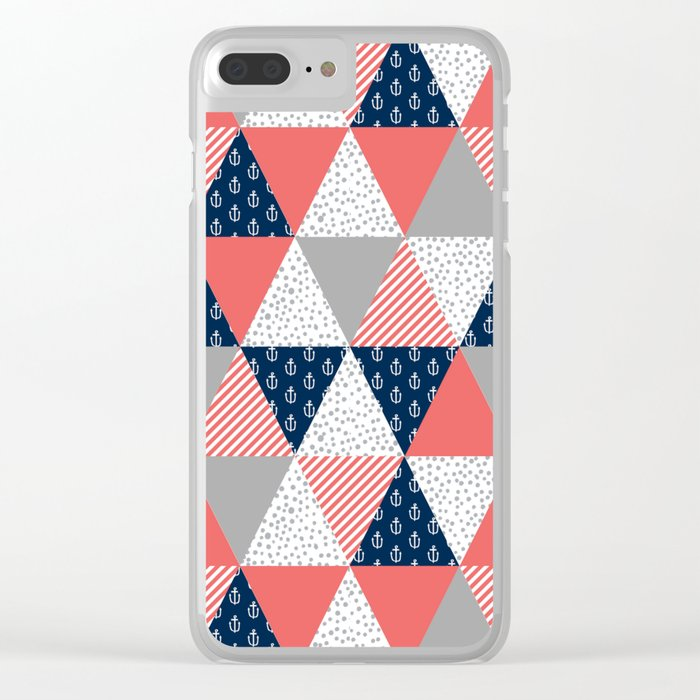 Quilt nautical navy and white modern trendy basic pattern print nursery pattern Clear iPhone Case
