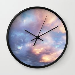 Sunset | Pink Clouds | Sky | Rainbow | Unicorn Colours | Nature Wall Clock