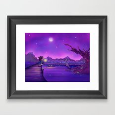 The Unexpected Visitor purple sky Framed Art Print
