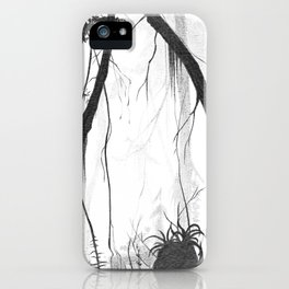 tropical florest drawing in high contrast iPhone Case