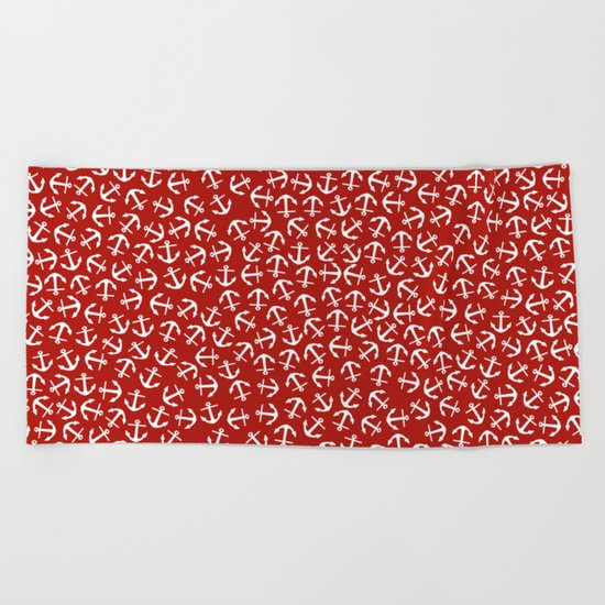 Maritime small Nautical Red and White Anchor Pattern - Anchors on #Society6 Beach Towel