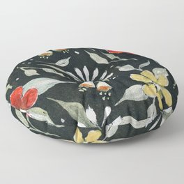 Southwest Style Oval Floral Gouache Painting Floor Pillow