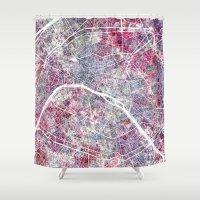 paris map Shower Curtains featuring Paris Map by MapMapMaps.Watercolors