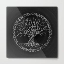 Tree of life -Yggdrasil -grayscale Metal Print