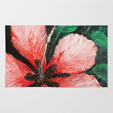 Salmon Red Hibiscus Summer Rug