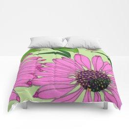 Echinacea on Pistachio Comforters