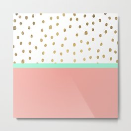 Coral teal color block faux gold foil polka dots pattern Metal Print