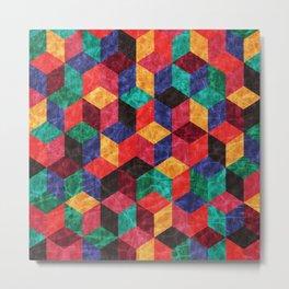 Colorful Isometric Cubes V Metal Print