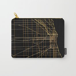 Black and gold Chicago map Carry-All Pouch