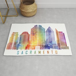 Sacramento skyline landmarks in watercolor Rug