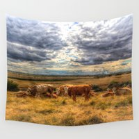 cows Wall Tapestries featuring Resting Cows by David Pyatt