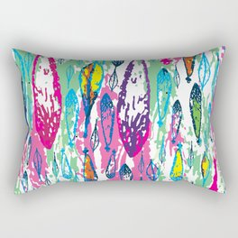Rainbow Leaves Abstract Pattern Rectangular Pillow