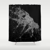 poland Shower Curtains featuring Warsaw map poland by Line Line Lines