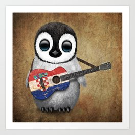 Baby Penguin Playing Croatian Flag Guitar Art Print
