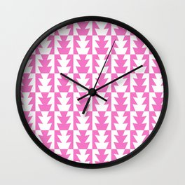 Art Deco Jagged Edge Pattern Pink Wall Clock