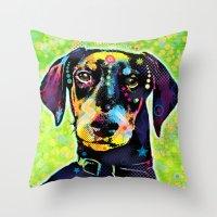 dachshund Throw Pillows featuring Dachshund by Gary Grayson