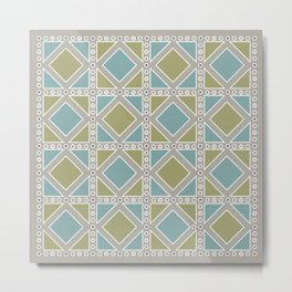 Moss Green and Teal Pattern Metal Print
