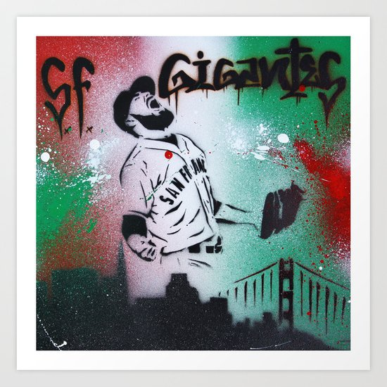 Mexican flag themed Sergio Romo SF Giants Gigantes Aerosol Stencil Art Painting Art Print