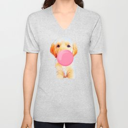Cute golden retriever with chewing gum Unisex V-Neck