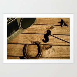 I mustache you to listen to the music Art Print