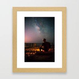 Guitar Milky Way Galaxy Framed Art Print