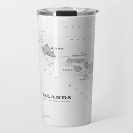 The Hawaiian Islands [Black & White] Map Print Travel Mug