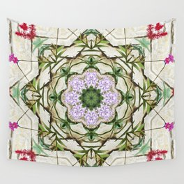 Orchids And Stone Wall Kaleidoscope 1764 Wall Tapestry