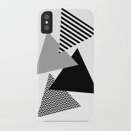 Geometric - Triangles, Black & White iPhone Case